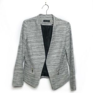 Ivanka Trump Gray Knit Wool Open Front Blazer 10